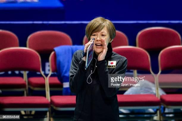 Team coach Kumi Nakada of Japan during the FIVB Volleyball Nations League Hong Kong match between Japan and Italy on May 29 2018 in Hong Kong Hong...