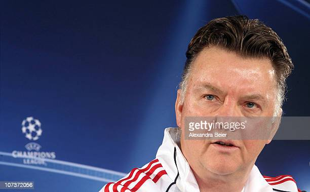 Team coach Louis van Gaal of Bayern Muenchen answers journalists questions during a news conference ahead of the Champions League Group E match...