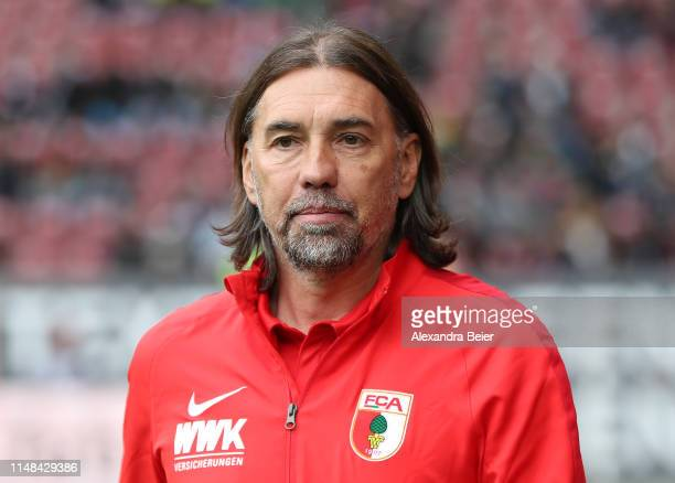 Team coach Martin Schmidt of FC Augsburg is pictured before the Bundesliga match between FC Augsburg and Hertha BSC at WWK-Arena on May 11, 2019 in...