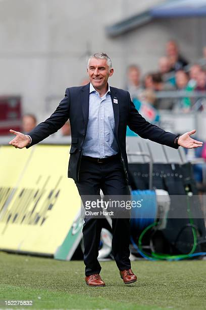 Team coach Mirko Slomka of Hannover reacts during the Bundesliga match between Hannover 96 and Werder Bremen at AWD Arena on September 15 2012 in...