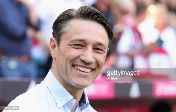 Team coach Niko Kovac of Eintracht Frankfurt smiles before the Bundesliga match between FC Bayern Muenchen and Eintracht Frankfurt at Allianz Arena...