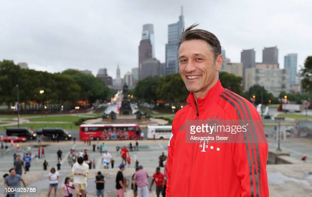 Team coach Niko Kovac of FC Bayern Muenchen poses in front of the Philadelphia skyline in front of the Philadelphia Museum of Art on the second day...