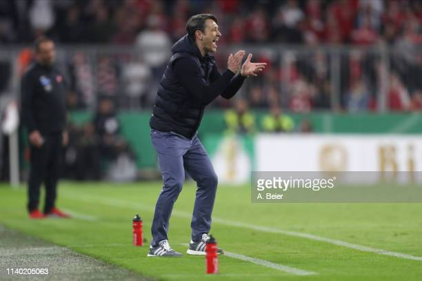 Team coach Niko Kovac of FC Bayern Muenchen reacts during the DFB Cup quarter final match between FC Bayern Muenchen and 1. FC Heidenheim at Allianz...