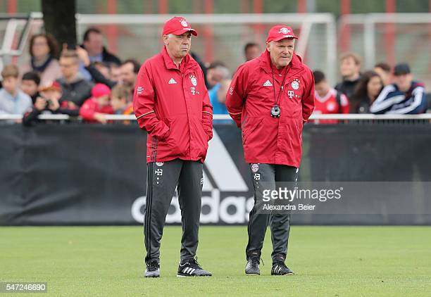 Team coach of FC Bayern Muenchen Carlo Ancelotti and assistent coach Hermann Gerland are pictured during a training session at Saebener Strasse...