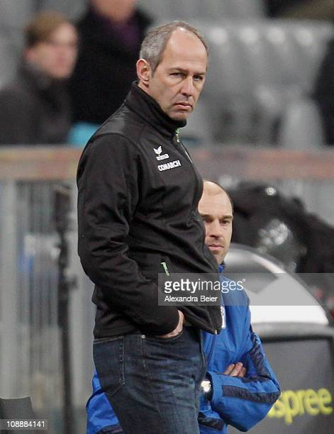 Team coach Reiner Maurer of 1860 Muenchen reacts during the second Bundesliga match between 1860 Muenchen and Fortuna Duesseldorf on February 7 2011...
