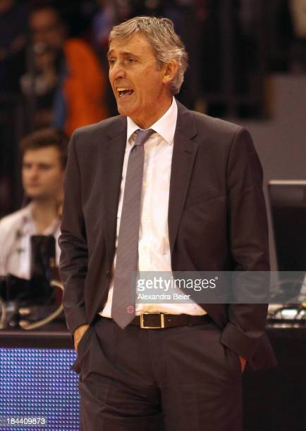 Team coach Svetislav Pesic of Bayern Muenchen reacts during the Basketball Bundesliga match between FC Bayern Muenchen and medi Bayreuth at AudiDome...