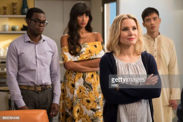 PLACE 'Team Cockroach' Episode 204 Pictured William Jackson Harper as Chidi Jameela Jamil as Tahani Kristen Bell as Eleanor Shellstrop Manny Jacinto...