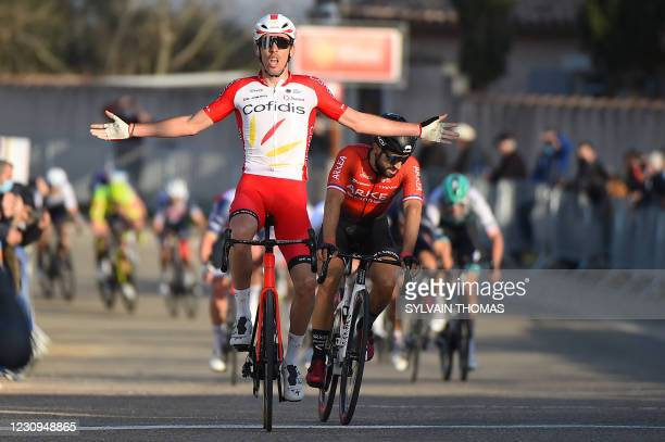 Team Cofidis French rider Christophe Laporte celebrates as he crosses the finish line and wins the first stage of the 51st Etoile de Besseges cycling...