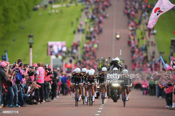 Team Colombia in action during the first stage of the 2014 Giro d'Italia a 21km Team Time Trial stage at Stormont on May 9 2014 in Belfast Northern...
