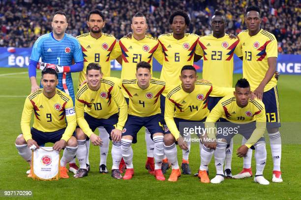 Team Colombia pose for photographers before the international friendly match between France and Colombia at Stade de France on March 23 2018 in Paris...