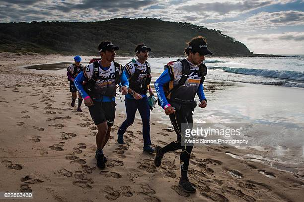Team Columbia Vidaraid running downMerry Beach during the Adventure Race World Championship on November 11 2016 in Shoalhaven Australia