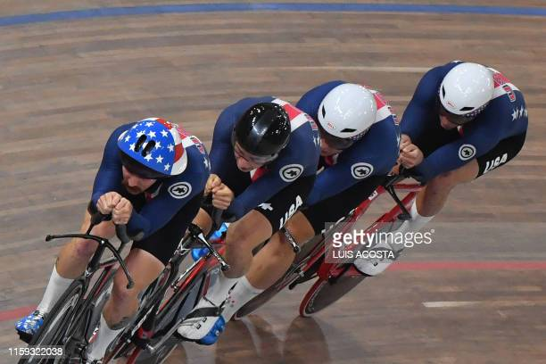 Team competes in the Men's Team Pursuit Gold Final of the Track Cycling competition during the Lima 2019 Pan-American Games in Lima on August 3, 2019.