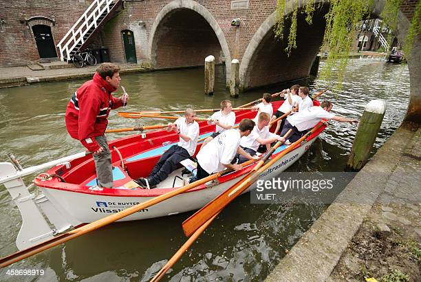 Team competing in an amateur lifeboat rowing contest, Utrecht
