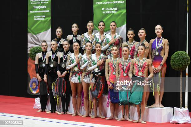 Team competition podium of the Rhythmic Gymnastics pre World Championship Italy-Ukraine-Germany at Palatricalle on 29th of July 2018 in Chieti Italy.