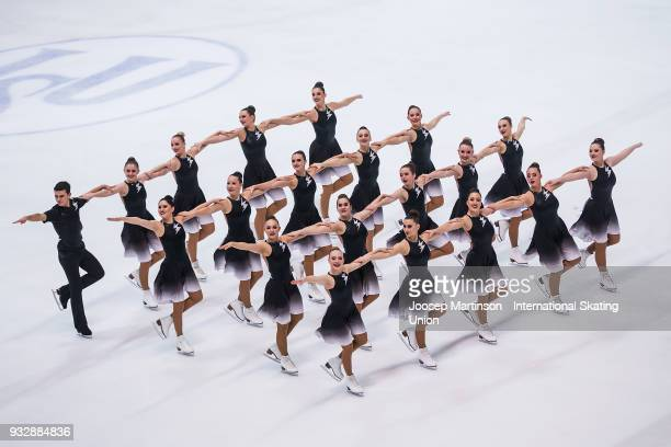 Team Cool Dreams Junion of Switzerland compete in the Short Program during the World Junior Synchronized Skating Championships at Dom Sportova on...