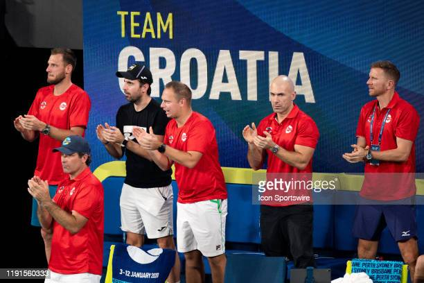 Team Croatia applaud during day two of the Group singles match at the 2020 ATP Cup Tennis at Ken Rosewall Arena on January 04 2020 in Sydney Australia
