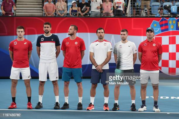 Team Croatia line up before their Group E matches against Austria during day two of the 2020 ATP Cup Group Stage at Ken Rosewall Arena on January 04...