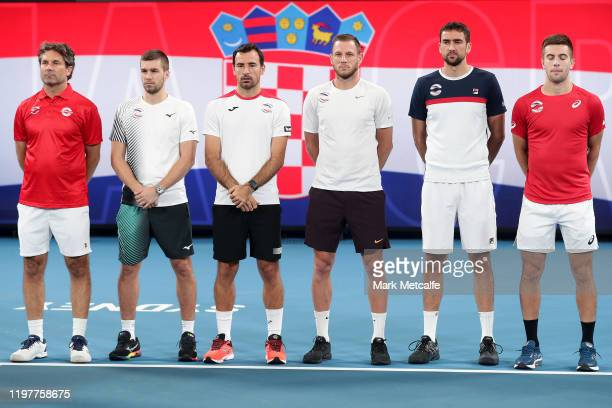 Team Croatia line up before their Group E singles match against Poland during day four of the 2020 ATP Cup Group State at Ken Rosewall Arena on...