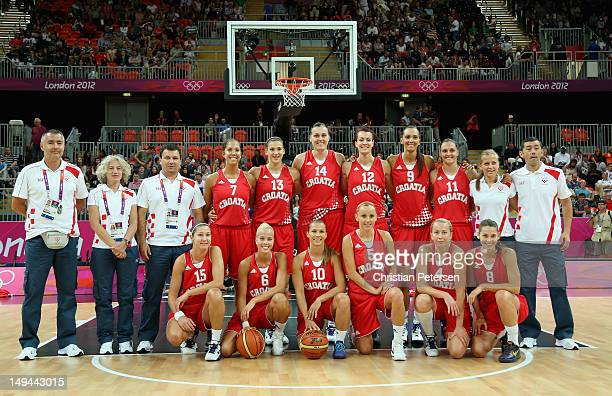 Team Croatia poses for a photo before playing against the United States during Women's Basketball on Day 1 of the London 2012 Olympic Games at the...
