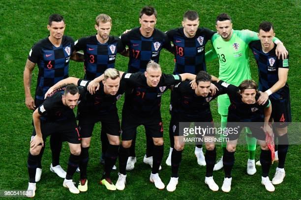 Team Croatia with Croatia's defender Dejan Lovren Croatia's defender Ivan Strinic Croatia's forward Mario Mandzukic Croatia's forward Ante Rebic...