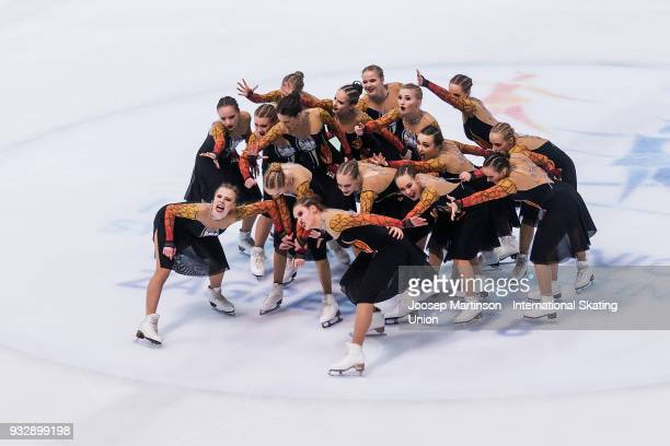 Team Crystal Ice Junior of Russia compete in the Short Program during the World Junior Synchronized Skating Championships at Dom Sportova on March 16...