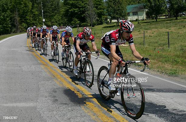 Team CSC drives the peloton to reel in an escape in hopes of setting up their sprinter JJ Haedo for the finish during Stage Six of the Tour de...