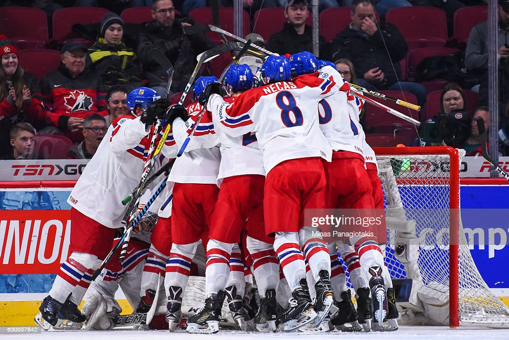 Team Czech Republic celebrate their victory over Team Finland during the IIHF World Junior Championship preliminary round game at the Bell Centre on December 26, 2016 in Montreal, Quebec, Canada. Team Czech Republic defeated Team Finland 2-1.