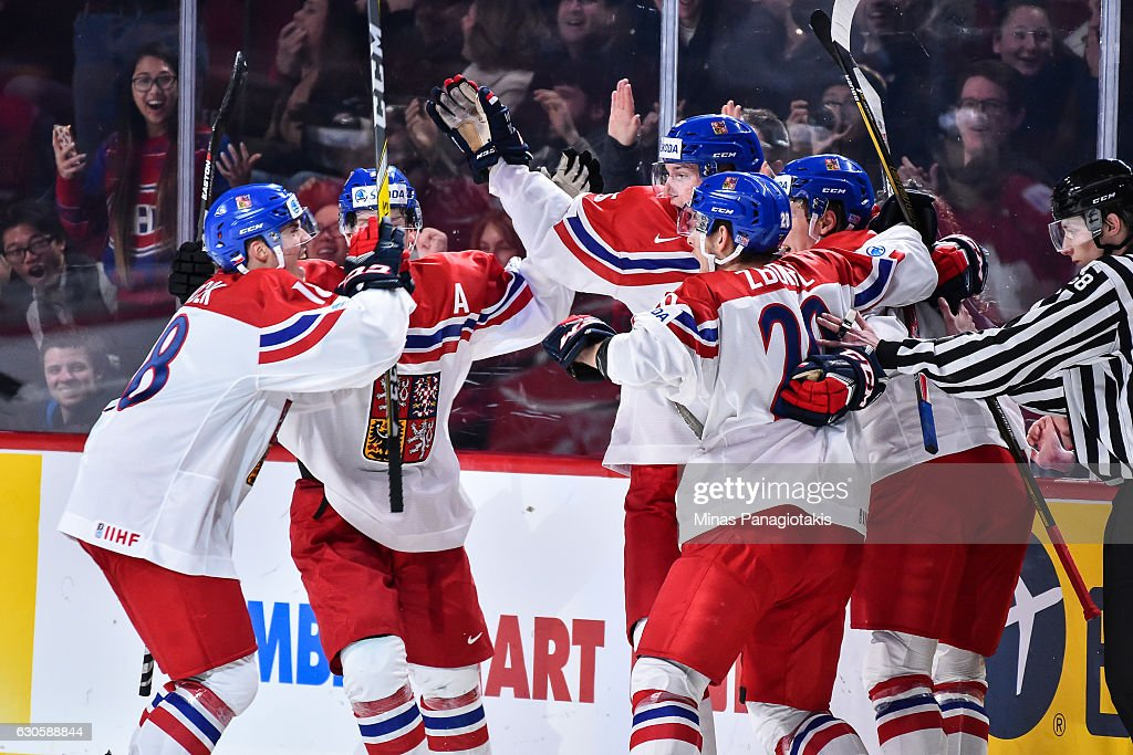 Team Czech Republic celebrates a tying goal late in the third period during the IIHF World Junior Championship preliminary round game against Team Switzerland at the Bell Centre on December 27, 2016 in Montreal, Quebec, Canada. Team Switzerland defeated Team Czech Republic 4-3 in overtime.