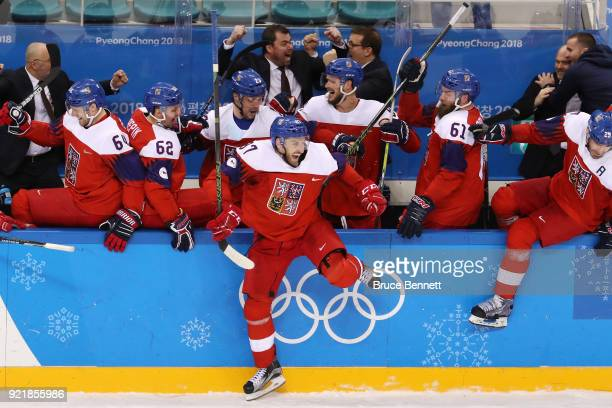 Team Czech Republic celebrates after defeating the United States 32 in an overtime shootout during the Men's Playoffs Quarterfinals on day twelve of...