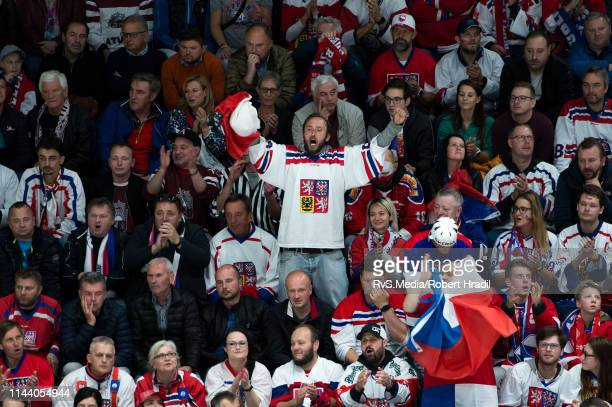 Team Czech Republic fan cheers during the 2019 IIHF Ice Hockey World Championship Slovakia group game between Czech Republic and Latvia at Ondrej...