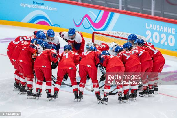 Team Czech Republic focuses before Women's 6-Team Tournament Preliminary Round - Group B Game between Czech Republic and Switzerland at the Lausanne...