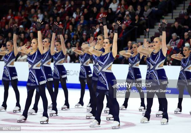 Team Czech Republic perform in the Free Program during the ISU World Junior Synchronized Skating Championships at Hershey Centre on March 11 2017 in...