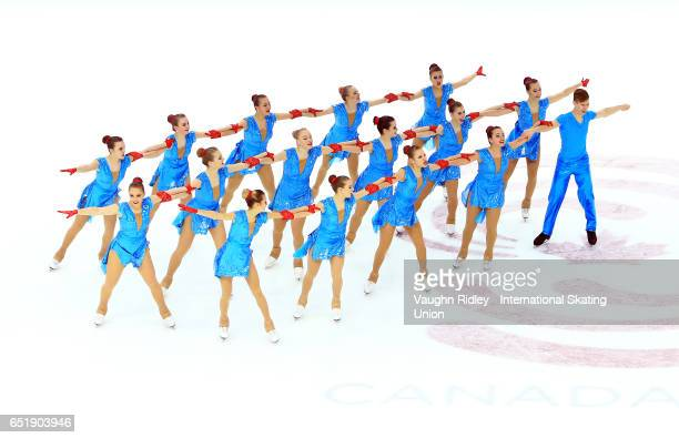 Team Czech Republic perform in the Short Program during the ISU World Junior Synchronized Skating Championships at Hershey Centre on March 10 2017 in...