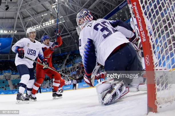 Team Czech Republic reacts after scoring a goal against the United States during the Men's Playoffs Quarterfinals on day twelve of the PyeongChang...