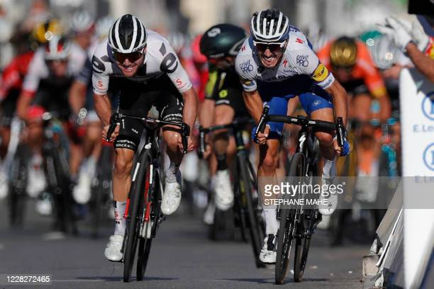 Team Deceuninck rider France's Julian Alaphilippe sprints next to Team Sunweb rider Switzerland's Marc Hirschi before winning the 2nd stage of the...