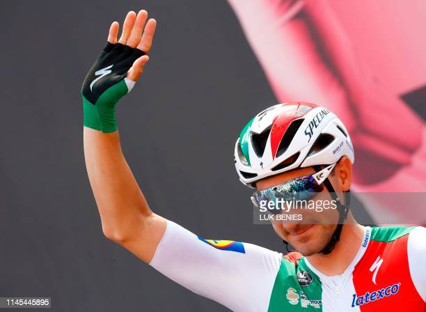 Team Deceuninck rider Italy's Elia Viviani prepares to take the start of stage eleven of the 102nd Giro d'Italia Tour of Italy cycle race 221kms from...