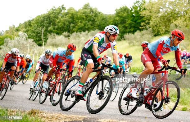 Team Deceuninck rider Italy's Elia Viviani ride with peloton during the stage four of the 102nd Giro d'Italia - Tour of Italy - cycle race, 235kms...