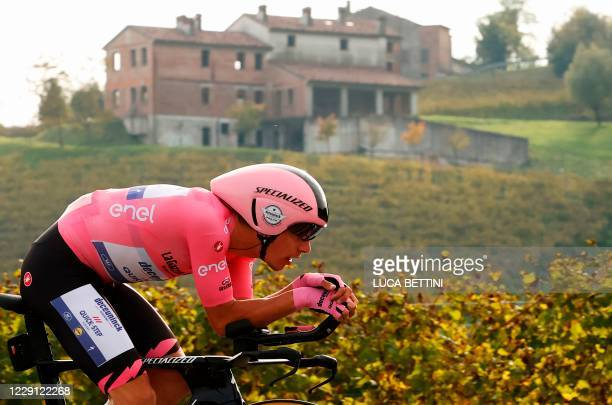 Team Deceuninck rider Portugal's Joao Almeida rides during the fourteenth stage of the Giro d'Italia 2020 cycling race, a 34,1-kilometer individual...