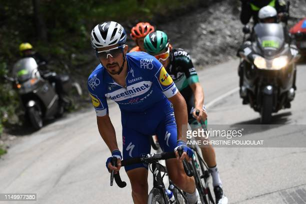 Team Deceuninck-Quick-Step rider France's Julian Alaphilippe leads a breakaway with Bora-Hansgrohe rider Austria's Gregor Muhlberger and CCC Team...