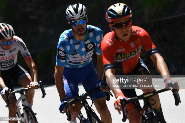 Team Deceuninck-Quick-Step rider France's Julian Alaphilippe, wearing the best climber's polka dot jersey, rides during the eighth and last stage of...