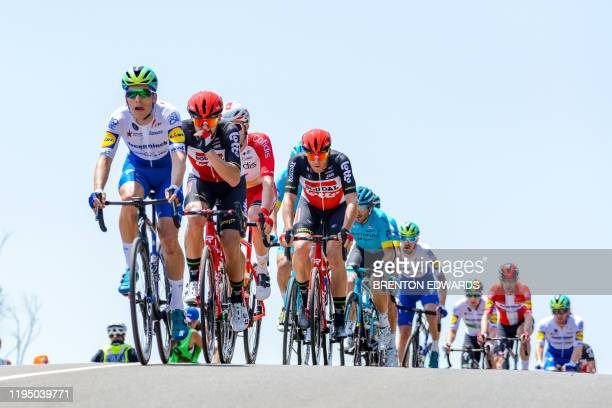 Team DeceuninckQuickStep rider Joao Pedro Almeida of Portugal leads the peloton through the Barossa Valley during stage one of the Tour Down Under...