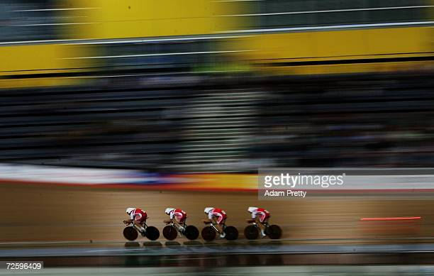 Team Denmark on their way to the silver medal in the teams pursuit during day two of the 2006 UCI Track Cycling World Cup at the Dunc Gray Velodrome...