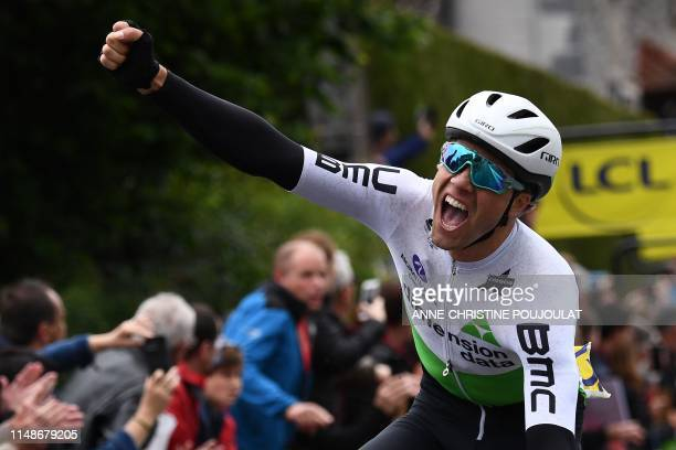 Team Dimension Data rider Norway's Edvald Boasson Hagen celebrates after he crossed the finish line to win the first stage of the 71st edition of the...