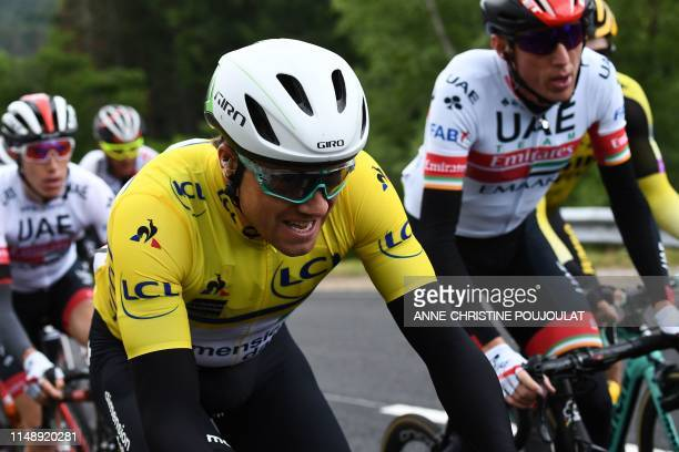 Team Dimension Data rider Norway's Edvald Boasson Hagen wearing the overall leader's yellow jersey rides during the second stage of the 71st edition...
