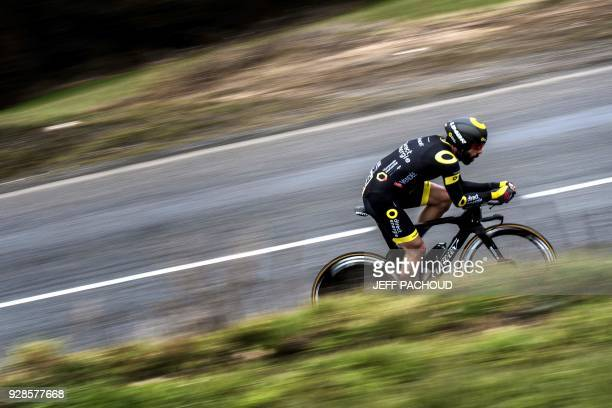 Team Direct Energie French cyclist Jerome Cousin rides during a 184km individual timetrial the fourth stage of the 76th ParisNice cycling race...