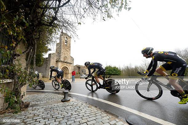 """Team Direct Energie ride during the Team Time Trial on day one of the tour of """"La Mediterraneenne"""" on February 11, 2016 in Banyoles. / AFP / JOSEP..."""
