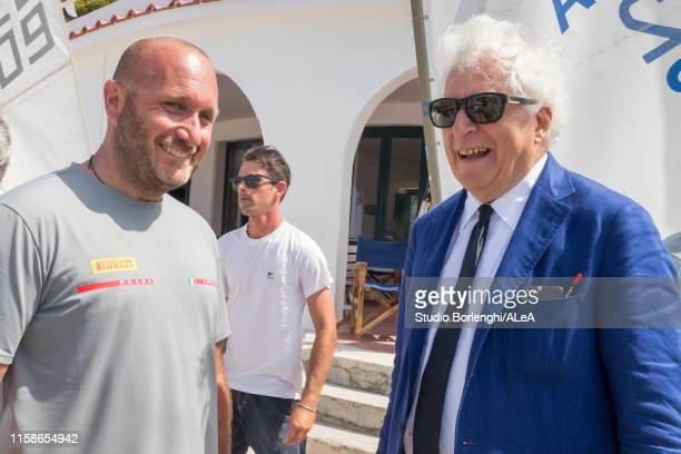 Team Director & Skipper Max Sirena talks with Team Principal Patrizio Bertelli during the Luna Rossa team presentation for the America's Cup 2021 on...