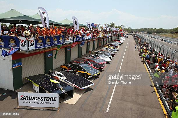 Team display their cars for a photo following the dynamic time trials for the 2015 Bridgestone World Solar Challenge at Hidden Valley Motor Sport...