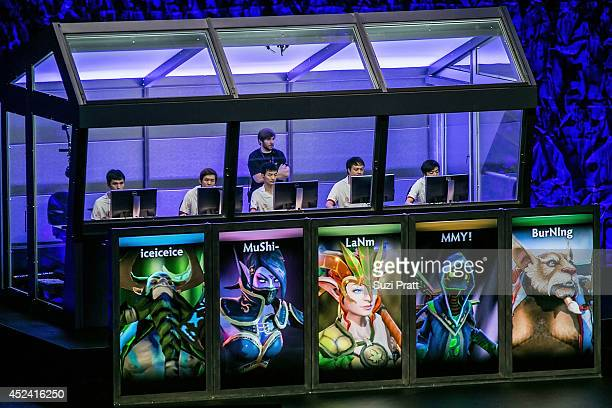 Team DK competes at The International DOTA 2 Champsionships at Key Arena on July 19 2014 in Seattle Washington