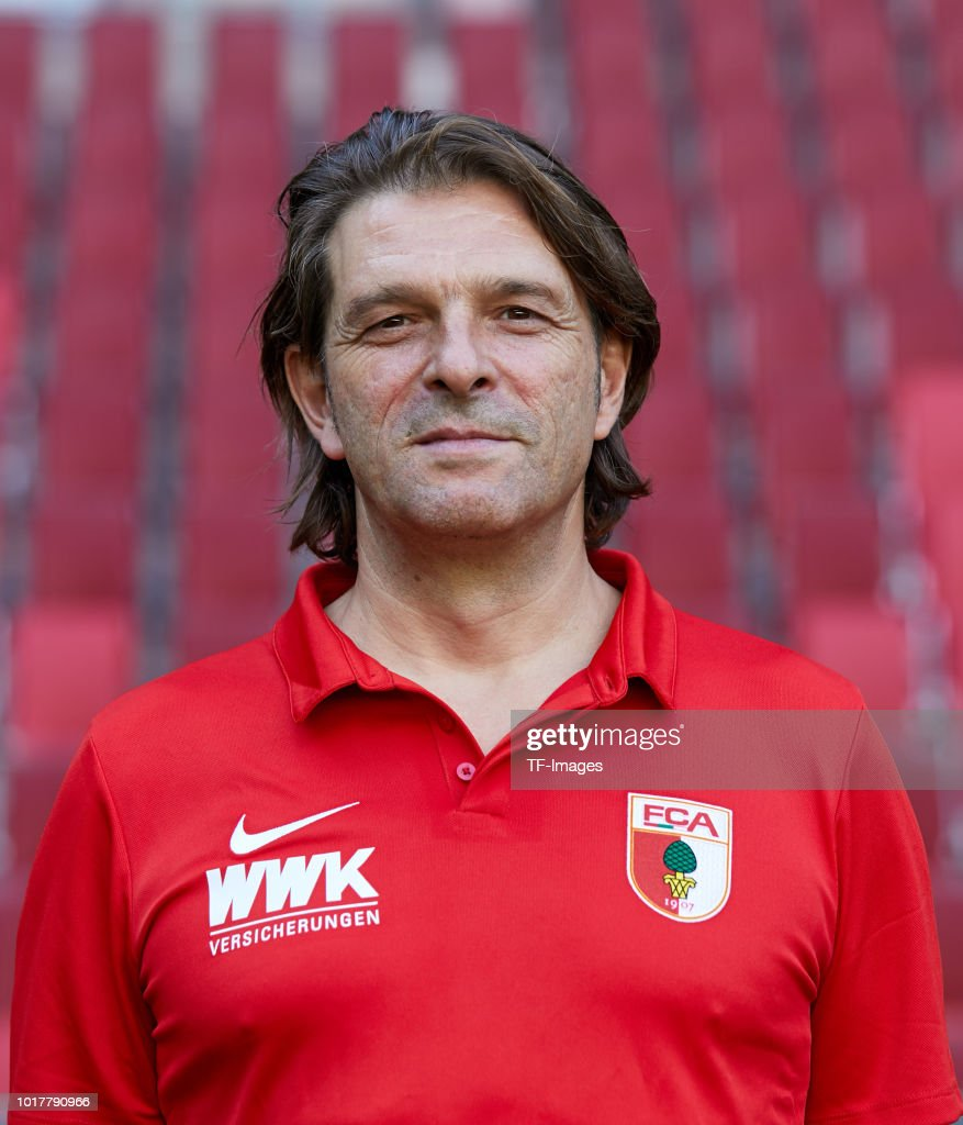 Team doctor Andreas Weigel of FC Augsburg poses during the team presentation at WWK Arena on August 9, 2018 in Augsburg, Germany.